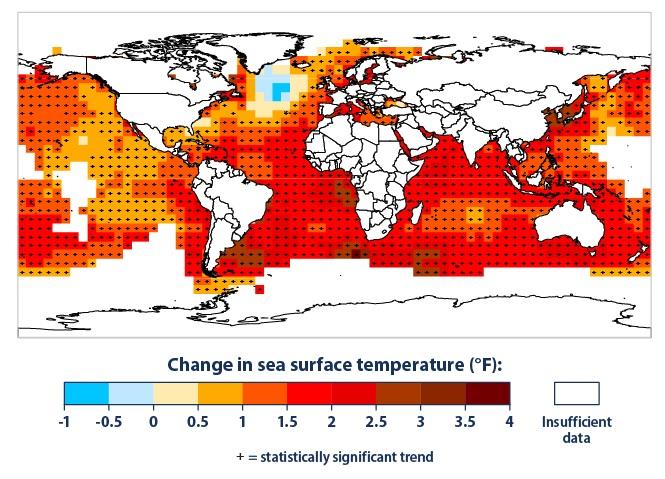 Cambios en la temperatura superficial del océano